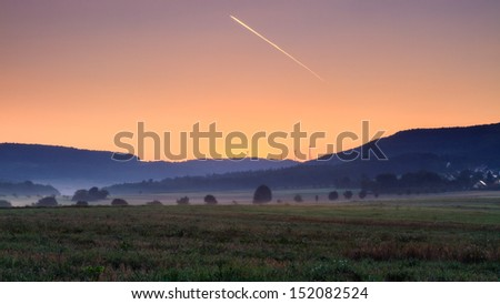 Foggy Bavarian Sunrise - stock photo