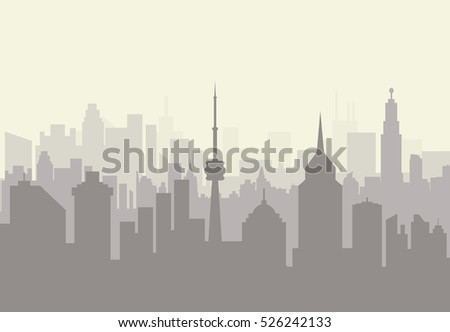 Foggy city skyline silhouette. skyscappers, towers, office and residental buildings. illustration