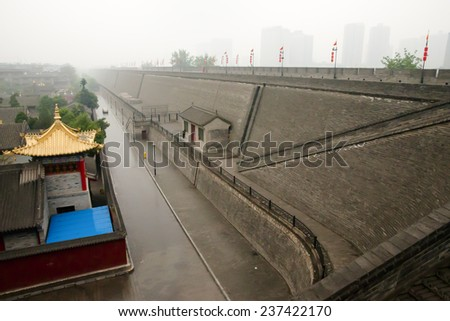 Foggy City Wall - Xian - China - stock photo