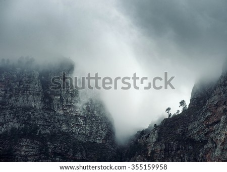 Foggy Cloudy Morning in the Mountains of South AFrica. South Africa - stock photo