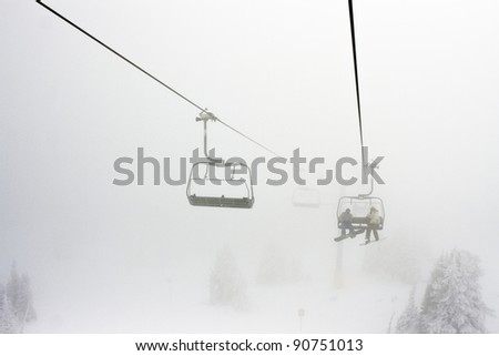 Foggy Conditions on a Ski Hill Chairlift
