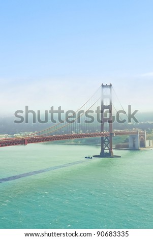 Foggy day at The Golden Gate Bridge in San Francisco, California - stock photo