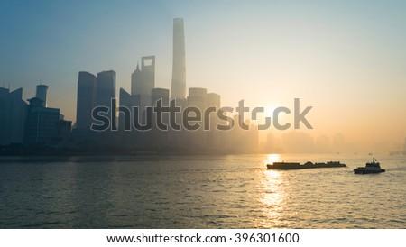 foggy day , Shanghai morning - stock photo