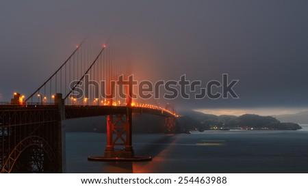 Foggy evening at the Golden Gate Bridge, San Francisco  - stock photo