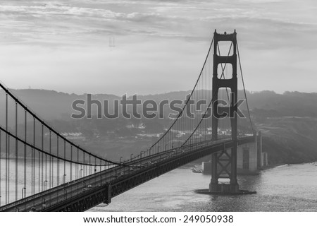 Foggy in the Morning at Golden Gate Bridge  - stock photo