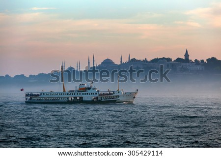 foggy Istanbul - stock photo