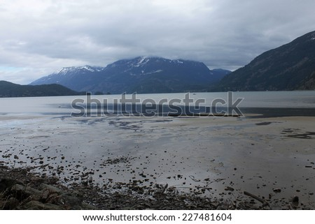Foggy lake scenic - stock photo