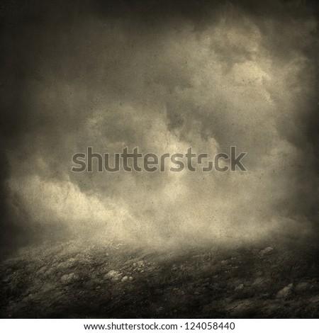Foggy landscape, mixed media - stock photo