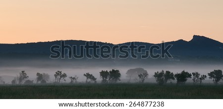 Foggy landscape with mountain from Hungary