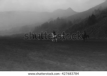 foggy morning at Mount Bromo,,east Java Indonesia - stock photo