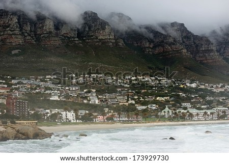 Foggy Morning in Cape Town. The beautiful city of Cape Town. Foggy cloudy morning of the coastal area - stock photo