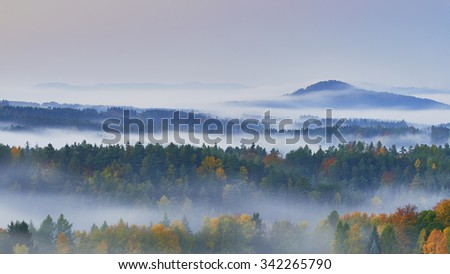 Foggy morning in the romantic landscape of the Czech Switzerland - stock photo