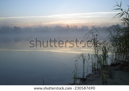 Foggy morning landscape in the autumn park near the lake. Vintag - stock photo