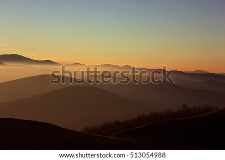 Foggy morning mountains