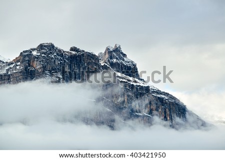 Foggy mountain and cloud in Banff National Park, Canada - stock photo