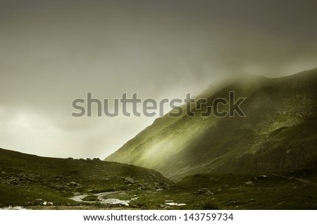 FOGGY MOUNTAIN SCENERY - stock photo