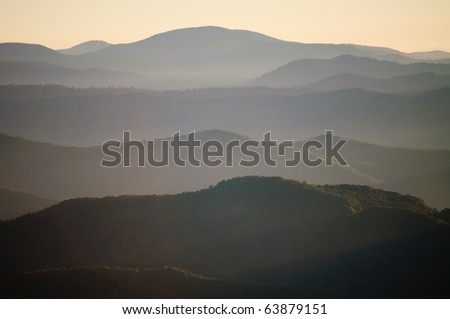 foggy mountains at sunrise