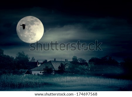 Foggy night and moonrise over village