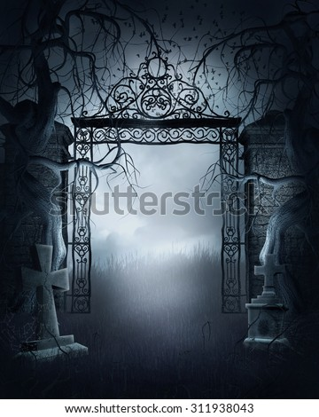 Foggy night scene with a cemetery gate, crosses and dark trees