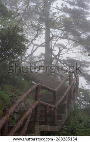Foggy path ahead in the yellow mountains (Huangshan), Anhui Province, China - stock photo