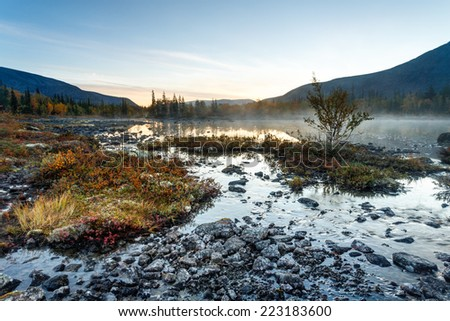 Foggy Polygonal lake with birch, grass and moss hummock in the foreground in Hibiny mountains in the early morning before sunrise - stock photo