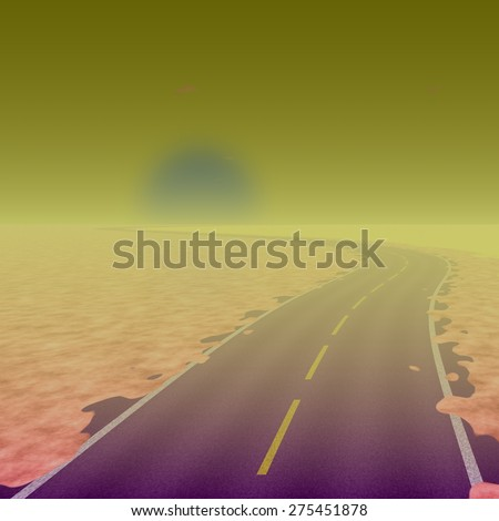 Foggy rainy landscape with asphalt road to nowhere. Cold sun at horizon - stock photo