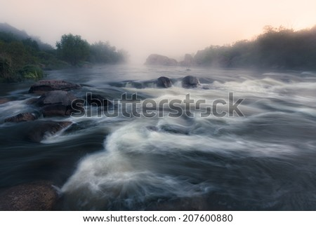 Foggy river morning - stock photo