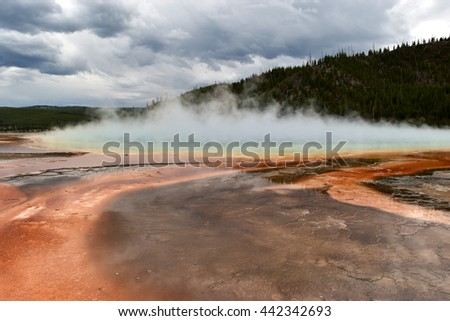 Foggy, rust colored prismatic lake landscape with cloud covering
