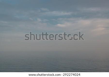 Foggy sky over the Mediterranean sea. Spain - stock photo