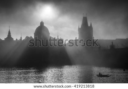 Foggy sunrise at Charles Bridge, Prague, Czech republic - stock photo