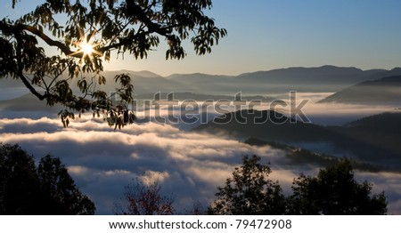 Foggy Sunrise in Great Smoky Mountains - stock photo