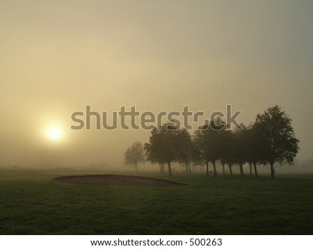 Foggy sunrise on a golf course - stock photo