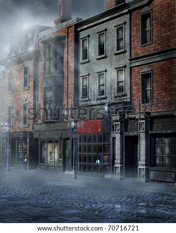 Foggy Victorian street - stock photo
