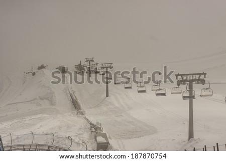 Foggy view on Glacier 3000 - Les Diablerets, Swiss. - stock photo