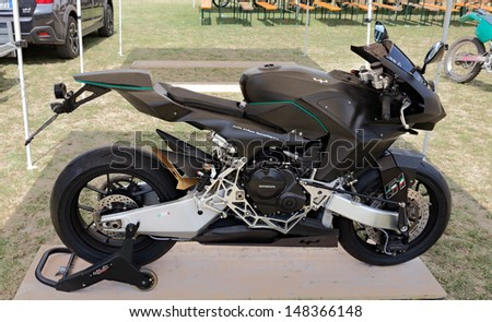 "FOGNANO, RA, ITALY - JULY 7: prototype of Italian motorbike Vyrus road version, at motorcycle show of Motoclub i Bradipi during the festival ""A tutta festa"" on July 7, 2013 in Fognano, RA, Italy"