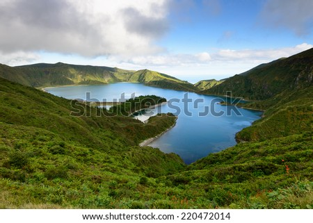 Fogo Lagoon on the island of Sao Miguel. Azores are one of the main holiday destinations in Portugal, and are located in the Atlantic Ocean between Europe and America. - stock photo
