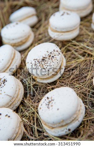Foie gras macaroon top with black pepper - stock photo