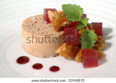 foie gras with beet gelee 2 - stock photo