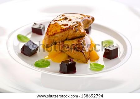 foie gras with chutney - stock photo