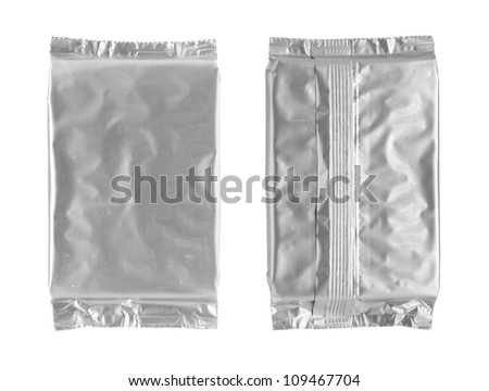 Foil bag isolated on white background
