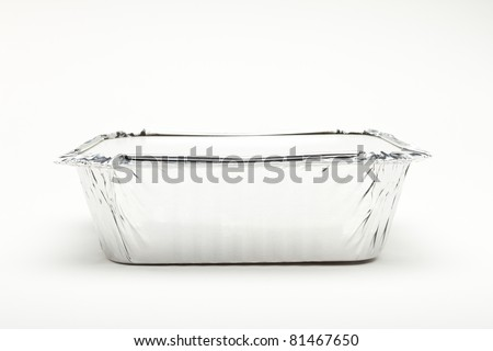 Foil Container with lid isolated on white background. - stock photo