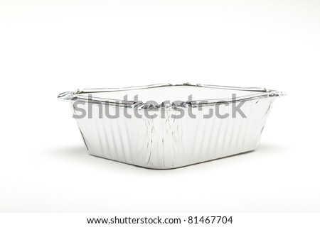 Foil Container with lid isolated on white background.