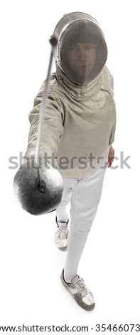 Foil fencer from above isolated on white background.      - stock photo