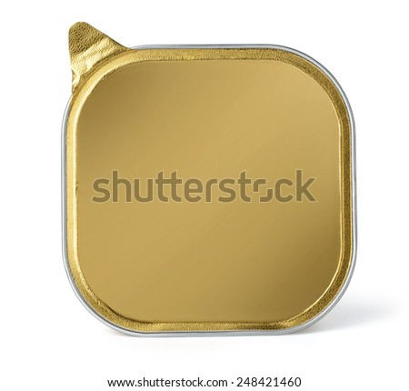 Foil Food Container Tray with Blank gold - stock photo