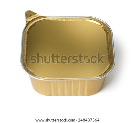 Foil Food Container  with Blank gold lid - stock photo