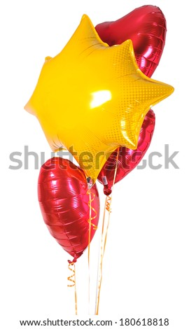 Foil Heart colorful balloons and Irregular balloon - stock photo