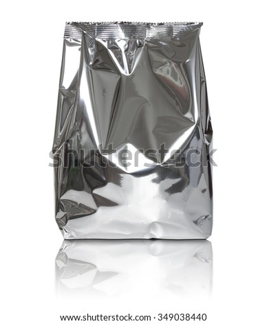 Foil package bag isolated on white background - stock photo