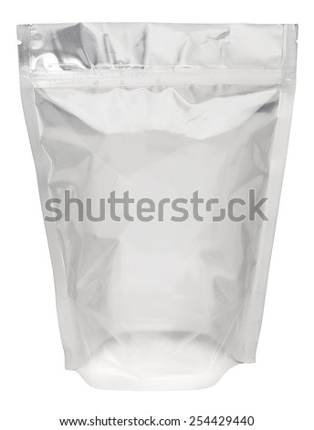 Foil package bag isolated on white with clipping path - stock photo
