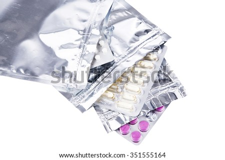 Foil package bag isolated on white with clipping path medicines and pills