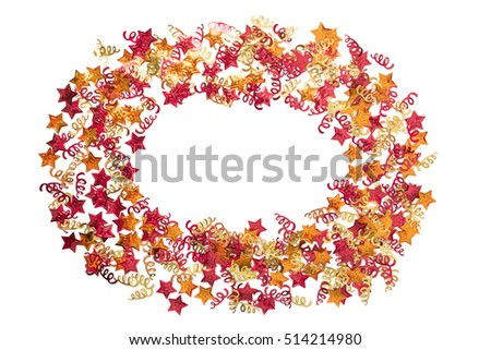 Foiled gold ribbons and stars. Frame with ribbons. Scattered stars border. Natural foiled texture. Yellow and red sparkling decor.